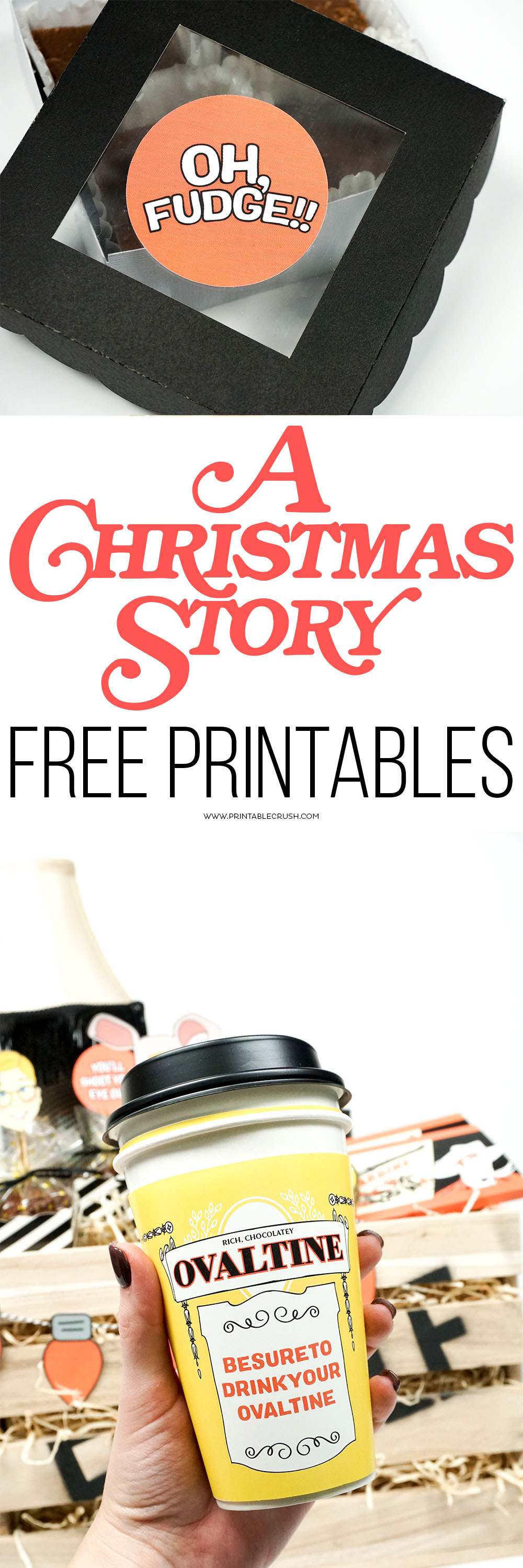 Download A Christmas Story FREE Printables to use at parties or for creative Christmas gifts. Includes 8 designs, from candy wrappers and cupcake toppers, to gift labels!