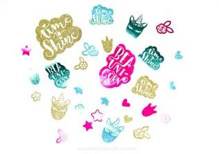 Sparkly unicorn confetti