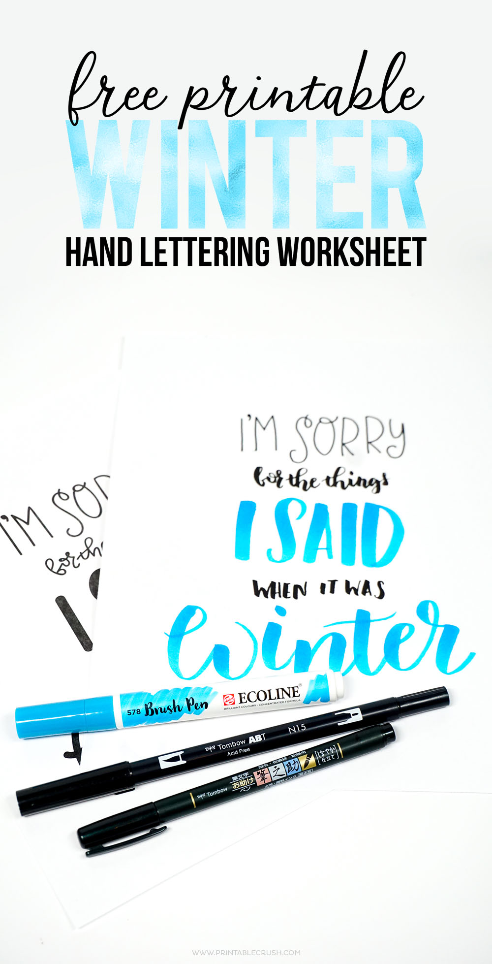 picture about Brush Lettering Practice Sheets Printable named Amusing Winter season Lettering Educate Sheet - Printable Crush