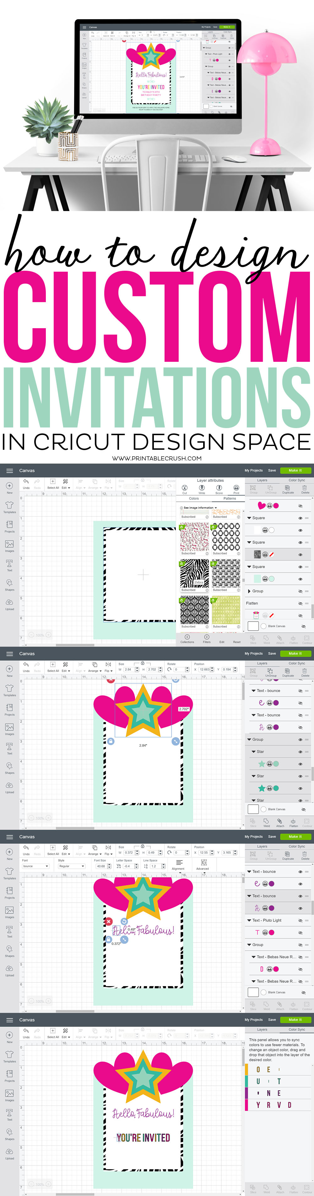 Learn to design custom invitations in Cricut Design Space from scratch! You'll learn how to flatten images for print and cut, plus get an overview of the most used CDS tools. via @printablecrush