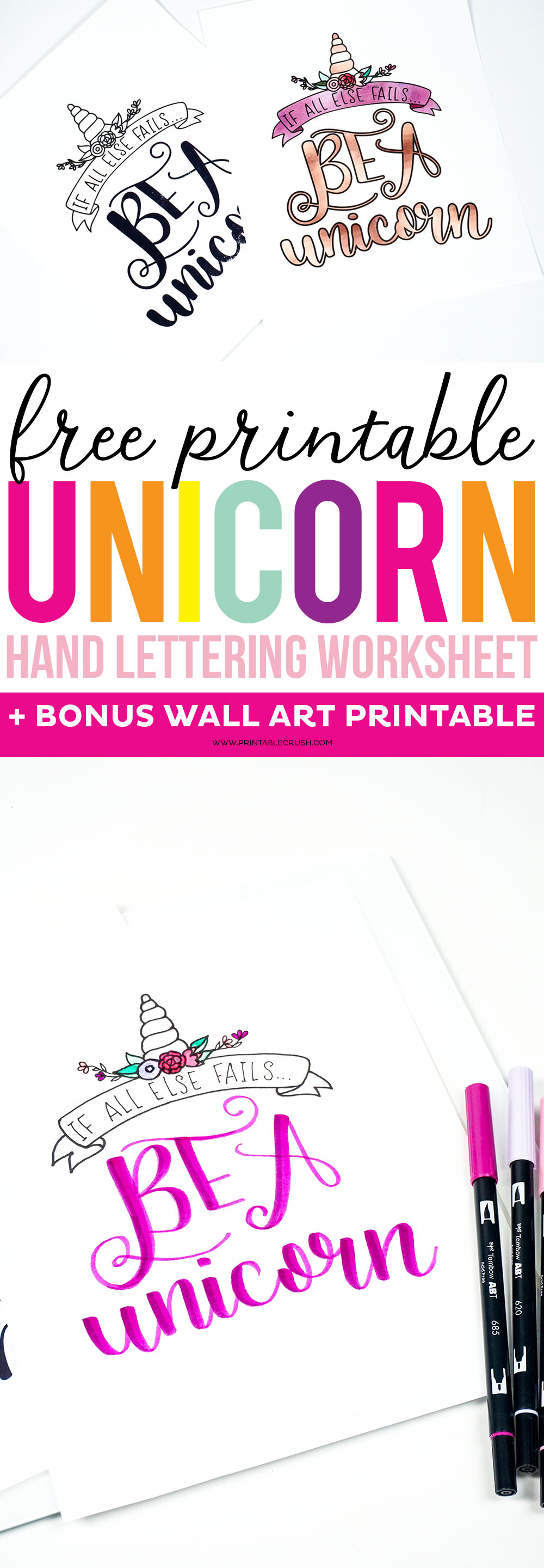 Get this FREE Printable Unicorn Hand Lettering Worksheet and Wall Art. Practice your lettering, and remember you can always fall back on being a unicorn. via @printablecrush