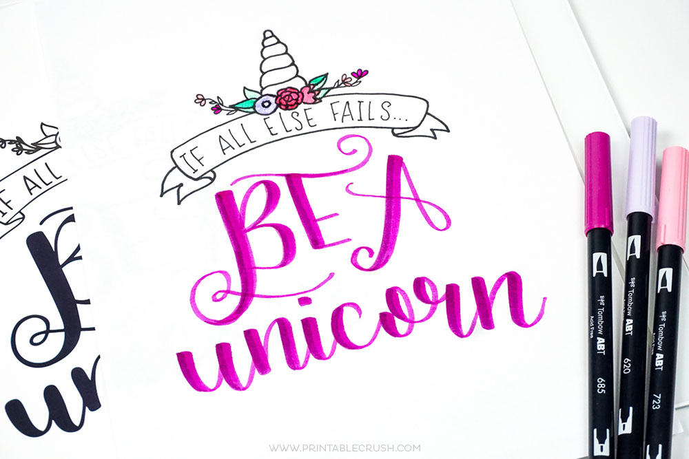 Printable Unicorn Hand Lettering Worksheet And Wall Art Crush