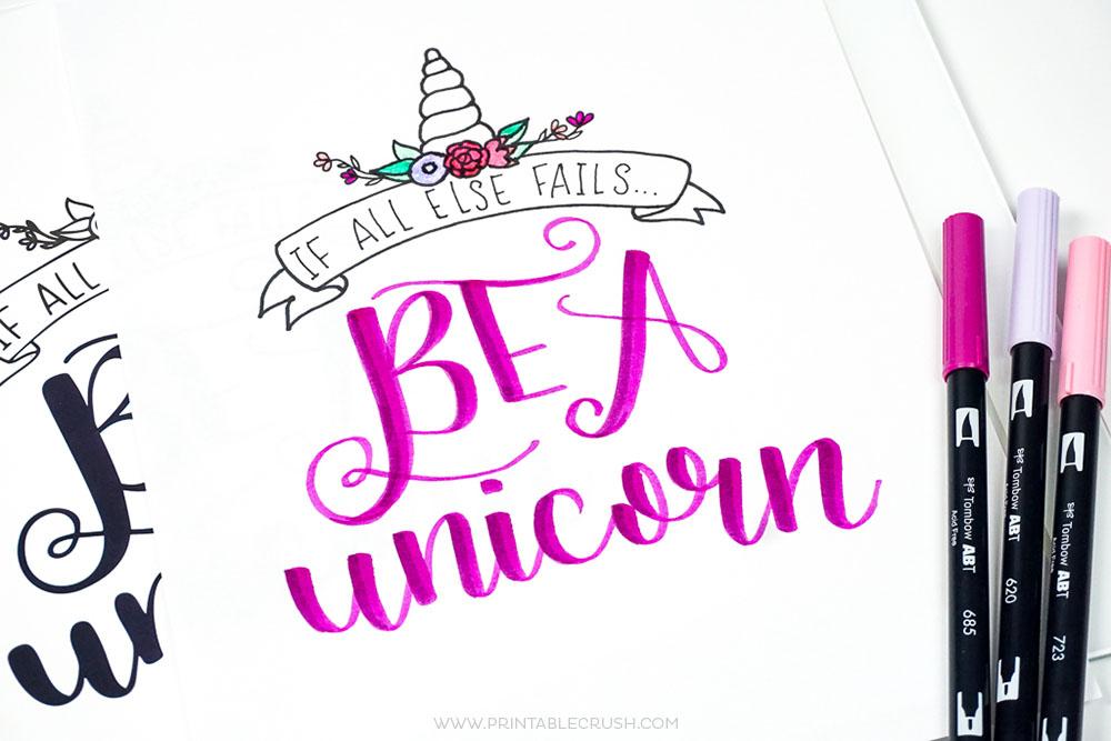 Printable Unicorn Hand Lettering Worksheet And Wall Art Crush