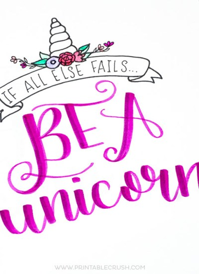 Download this FREE Printable Unicorn Hand Lettering Worksheet, and get a bonus Unicorn Word art!