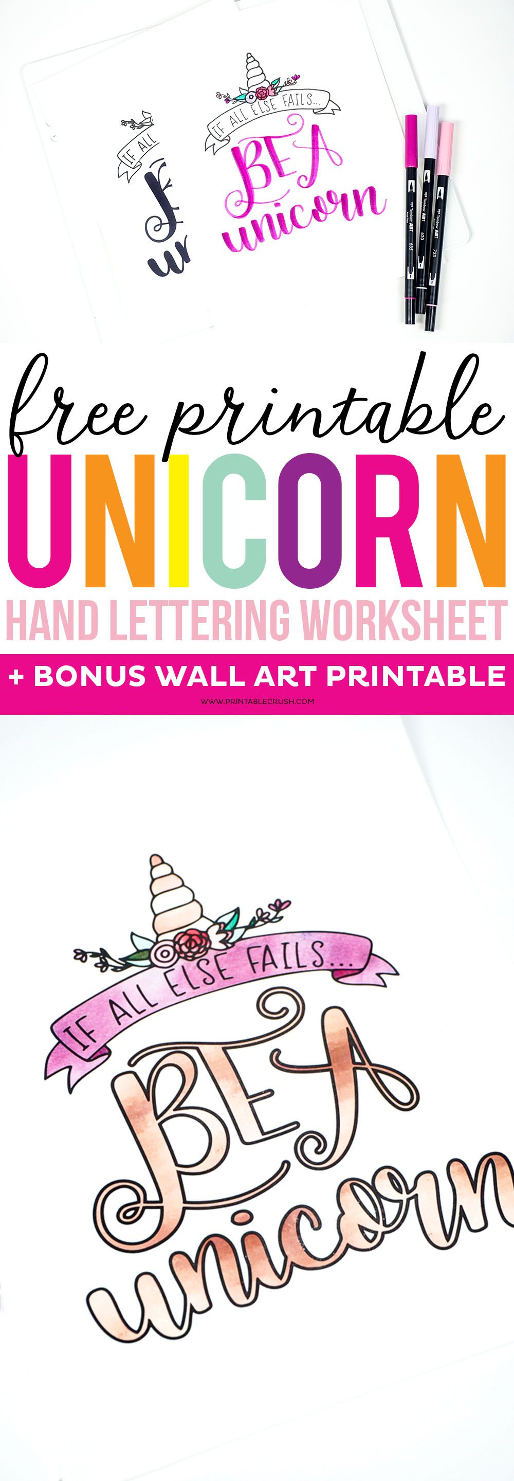 FREE Printable Unicorn Hand Lettering Worksheet and Wall Art ...