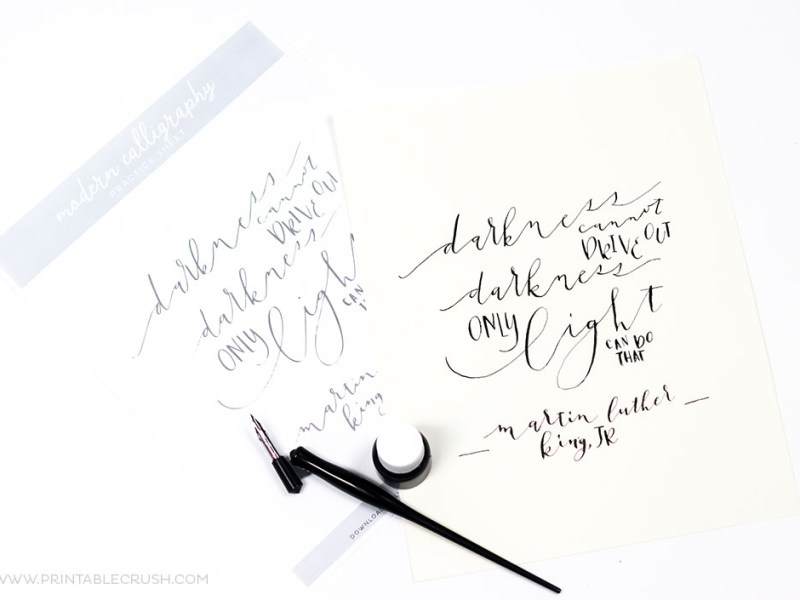 Download these3 Free Printable Modern Calligraphy Practice Sheets to try 3 different lettering styles and techniques. Plus, discover new calligraphy materials you need to try!