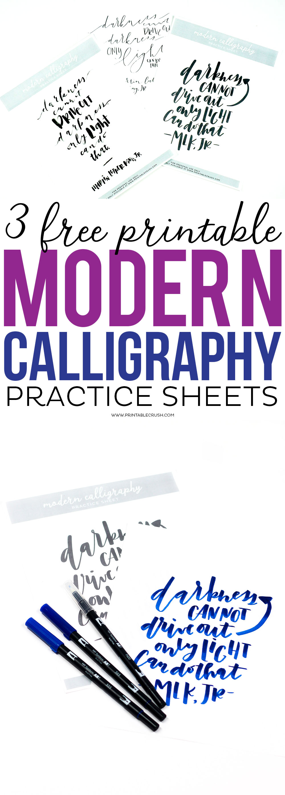 Download these 3 Free Printable Modern Calligraphy Practice Sheets to try 3 different lettering styles and techniques. Plus, discover new calligraphy materials you need to try!