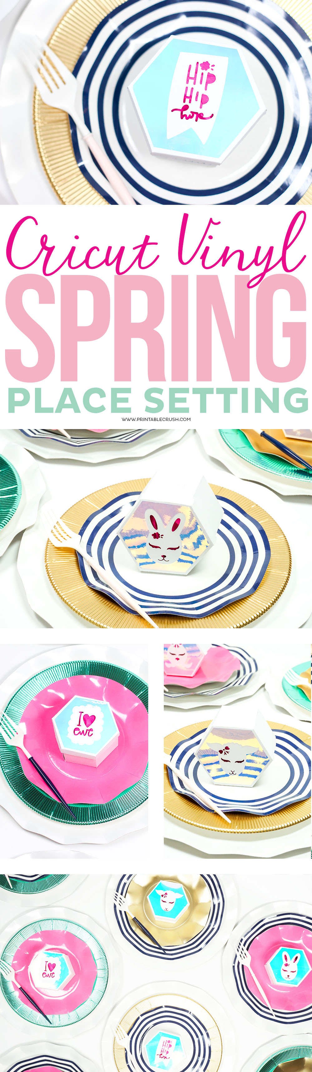 This Holographic Cricut Vinyl makes this Spring Place Setting extra pretty! You can customize each hexagon box with these adorable spring animal designs. via @printablecrush