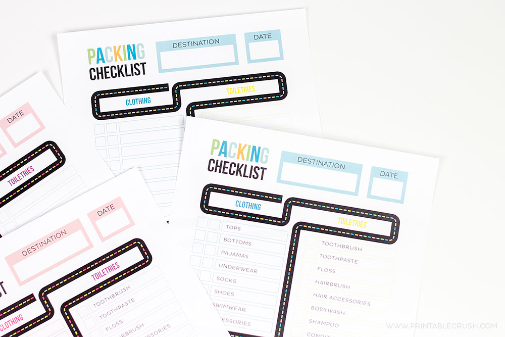 Get ready for your Family Vacation with this FREE Printable Packing List for Kids. It comes in two color combinations with a sample template!