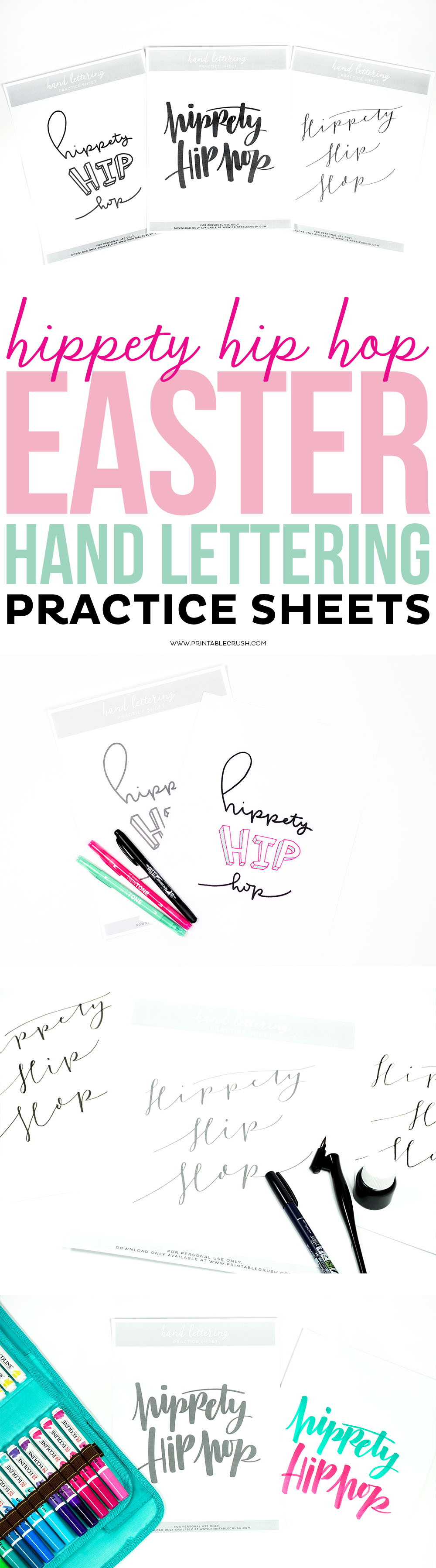 Expand your hand lettering skills with these Hippety Hip Hop Easter Hand Lettering Practice Sheets. You'll be able to practice 3 different lettering styles and I'll teach you the best brush pens and calligraphy tools to use. via @printablecrush
