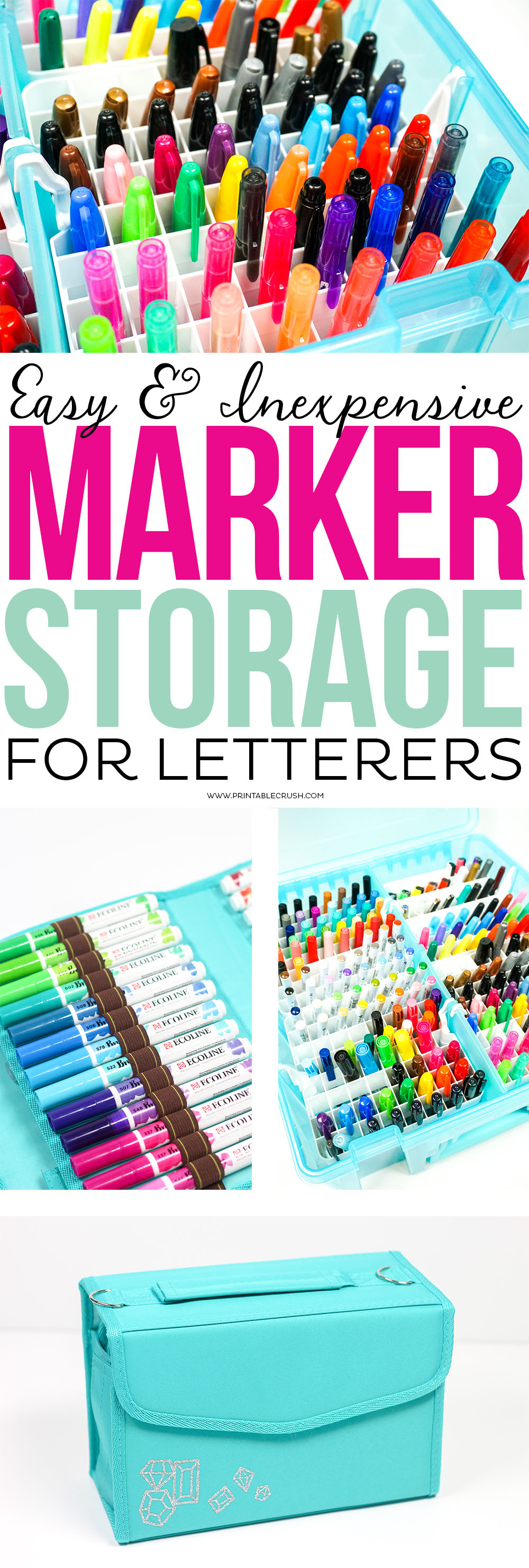 If you feel like you could be on an episode of Hoarders because of all your lettering pens, you'll love these ideas for Easy and Inexpensive Marker Storage forLetterers! via @printablecrush