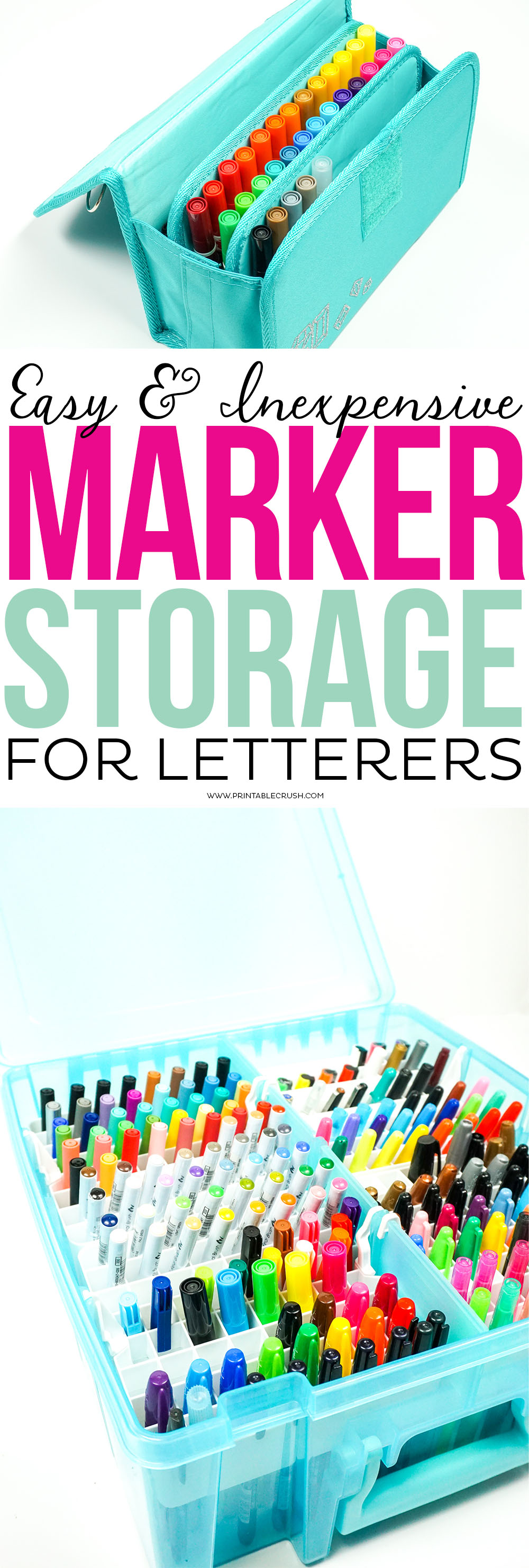Are lettering markers taking over your craft room? Check out this easy and inexpensive Marker Storage Ideas for letterers!