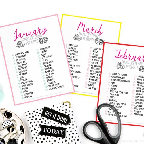 Monthly Hand Lettering Prompts so you can letter Daily