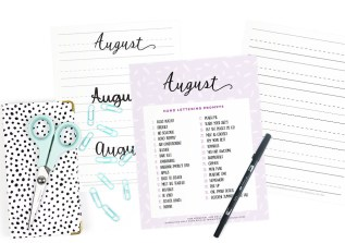 August Hand Lettering Prompts and Free Practice Sheet