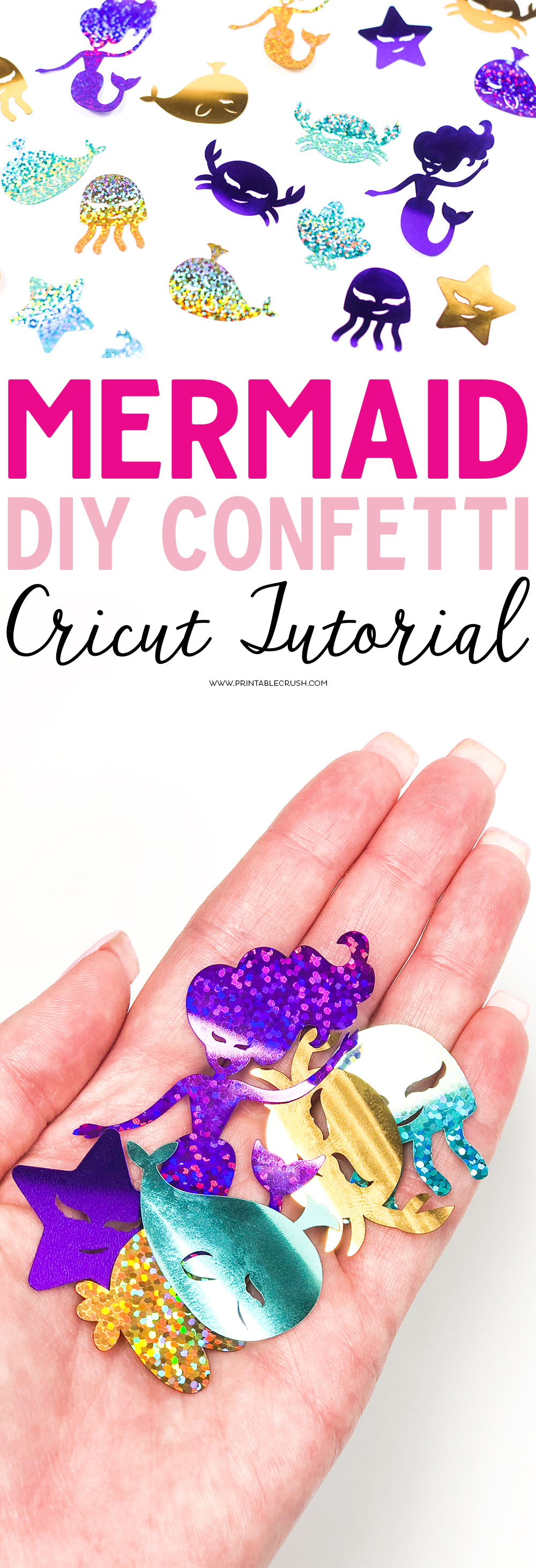 This fun DIY Mermaid Confetti Cricut Tutorial is so cute and perfect for a Mermaid party! It's so easy to make with the Cricut Maker and Cricut Party Foil!