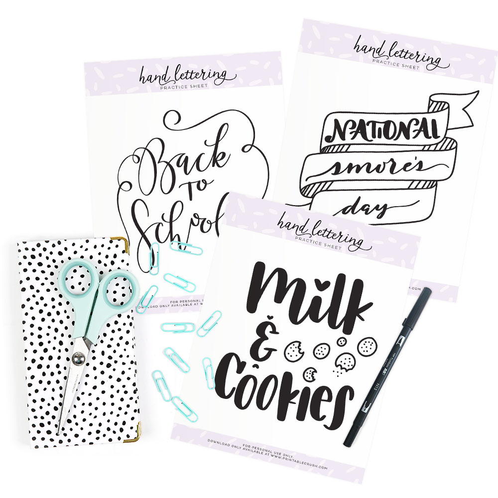 August Hand Lettering Practice Sheets