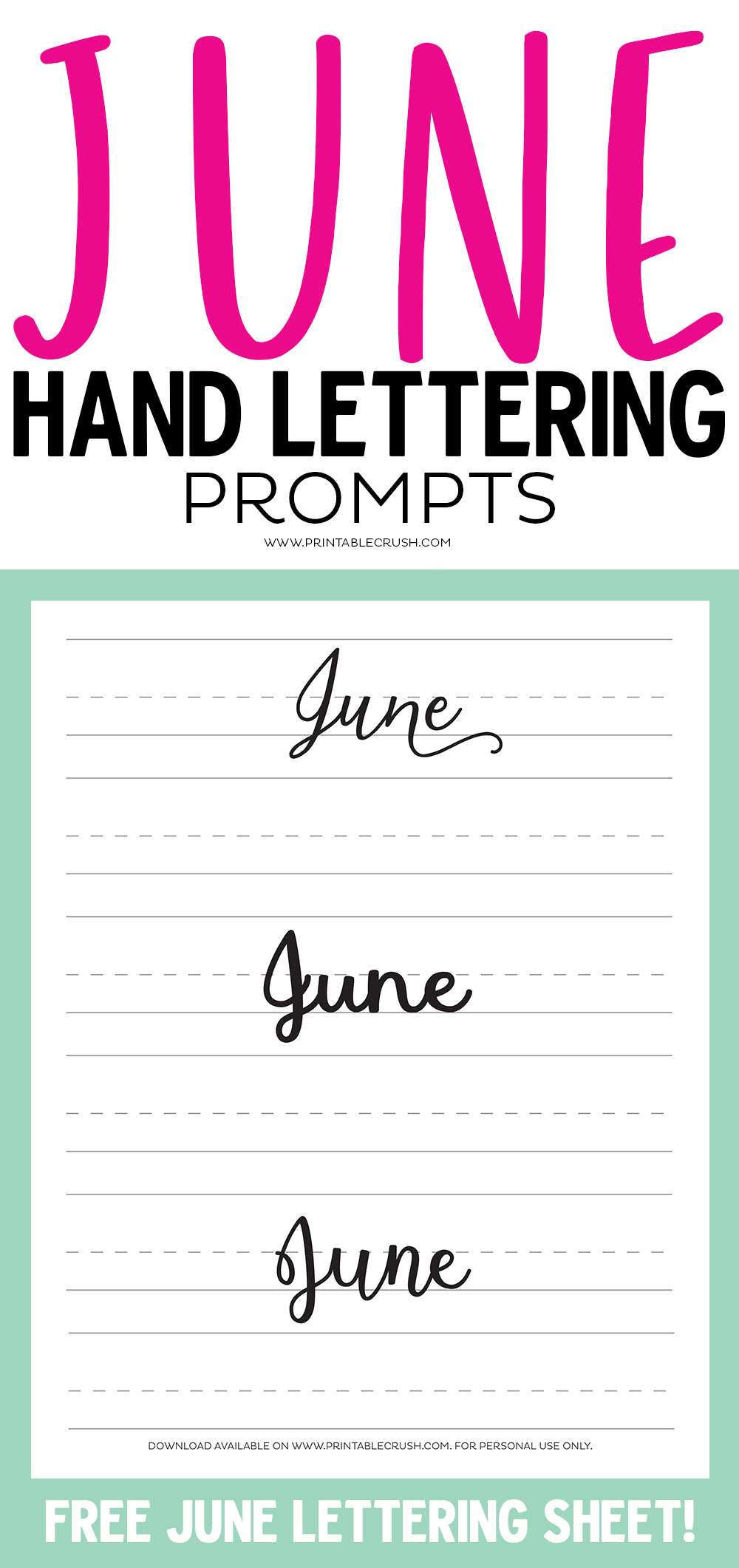 Get a free hand lettering worksheet with June's Hand Lettering Prompts.