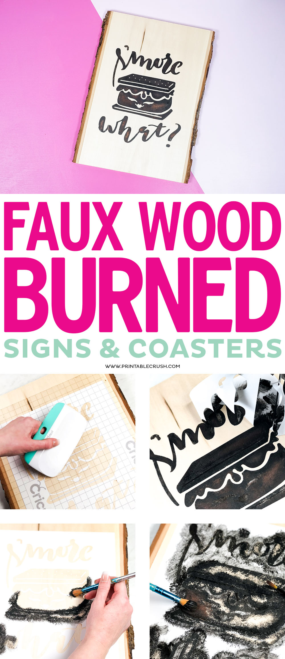 Create a realistic faux wood burned sign with matching coasters with this super easy painting technique.