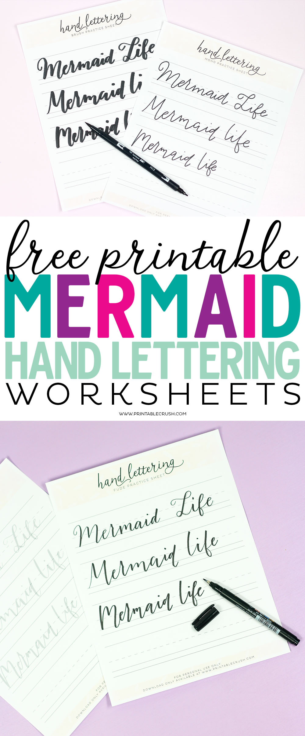 Enjoy these FREE Mermaid Life Brush Lettering Worksheets. Practice 3 different lettering styles and use 3 different Tombow brush pens or lettering pens.