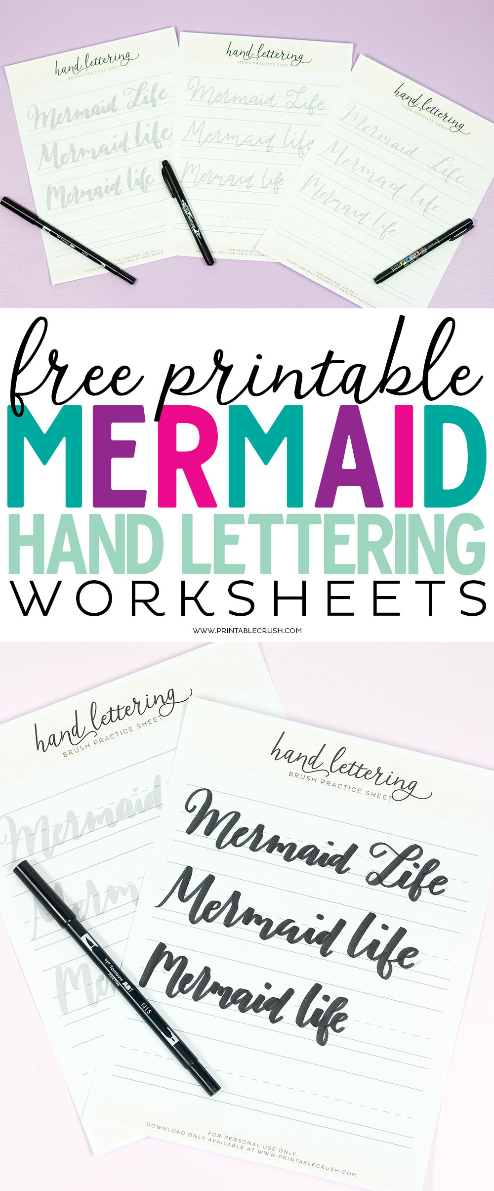 Practice your hand lettering skills with these FREE Mermaid Hand Lettering Worksheets. You'll get 3 pages to use with fudenosuke pens, dual brush pens, and mono pens.