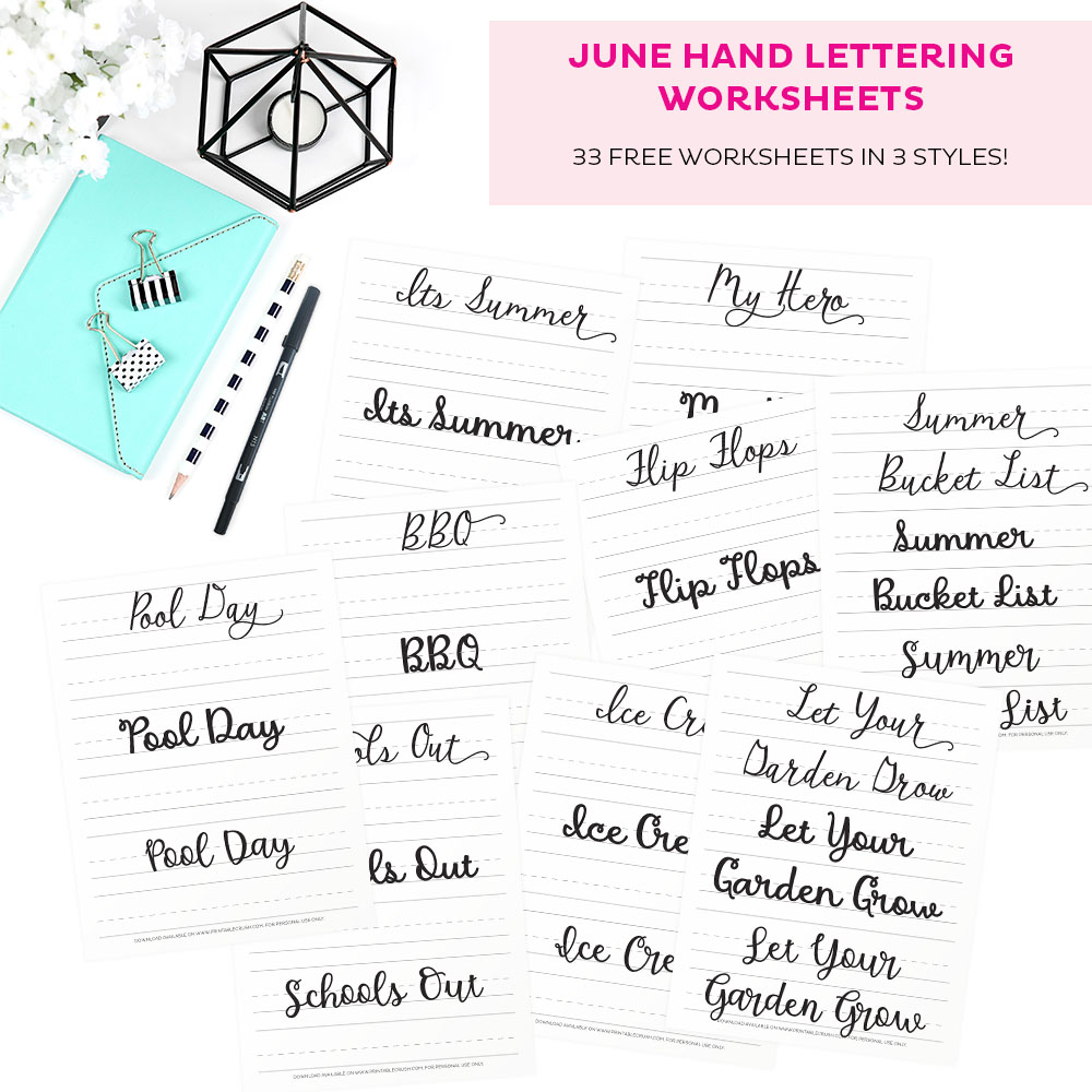 June Hand Lettering Prompts are all about summer, Father's Day, and school's out!