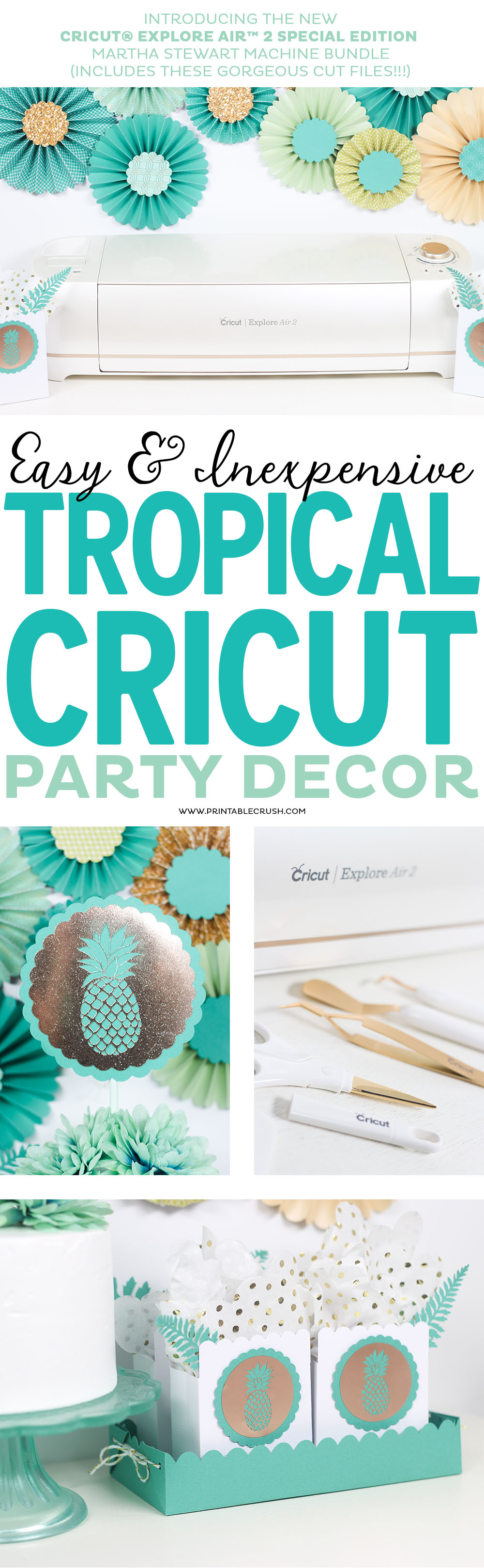 This tropical Cricut party decor is so simple to create with the new graphics included with the Martha StewartCricut® Explore Air™ 2 Special Edition! #ad, #CricutMarthaStewart, #MadeWithMichaels #CricutMade #Cricut via @printablecrush