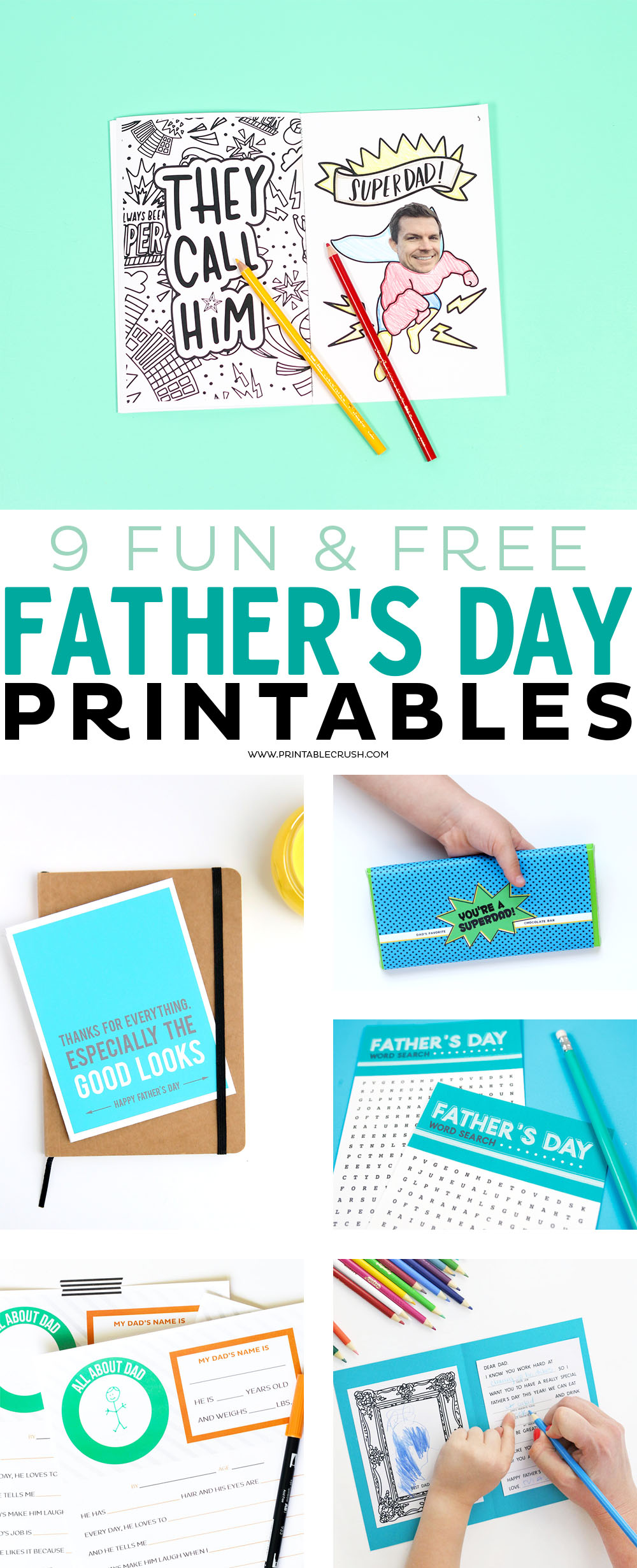 Treat dad with something fun with these 9 FREE Father's Day Printables! Includes father's day cards, questionnaires, candy bar wrappers, and more! via @printablecrush