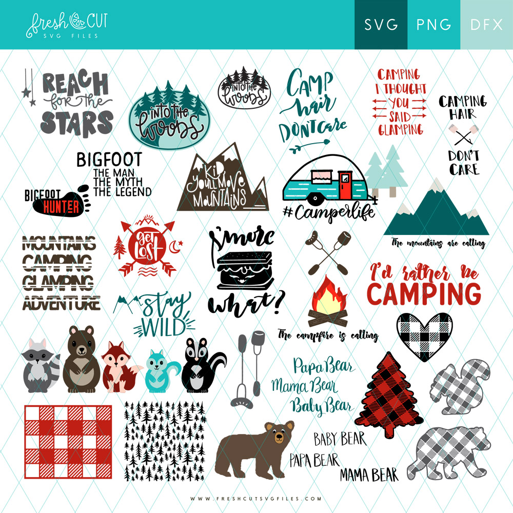 Get the Fresh Cut CAMPING SVG file bundle and save big on your mountain and outdoor projects!