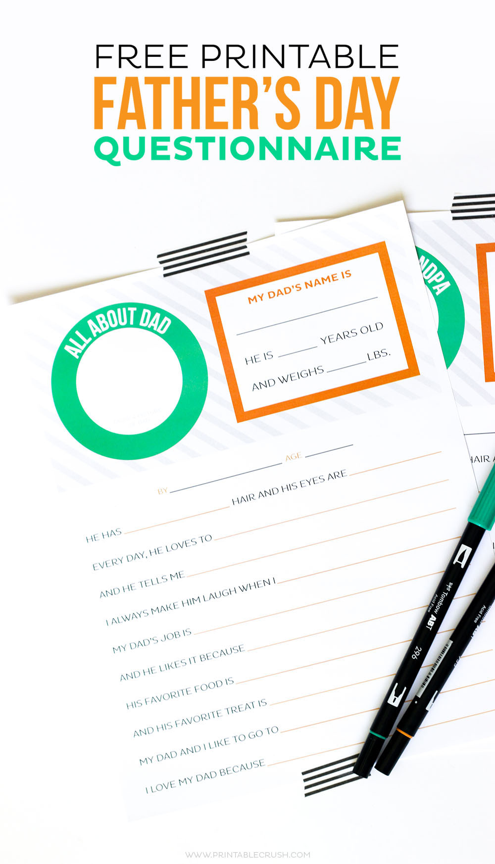 Download this FREE Father's Day Questionnaire Printable. It's a cute gift for dad and a fun activity for the kids!