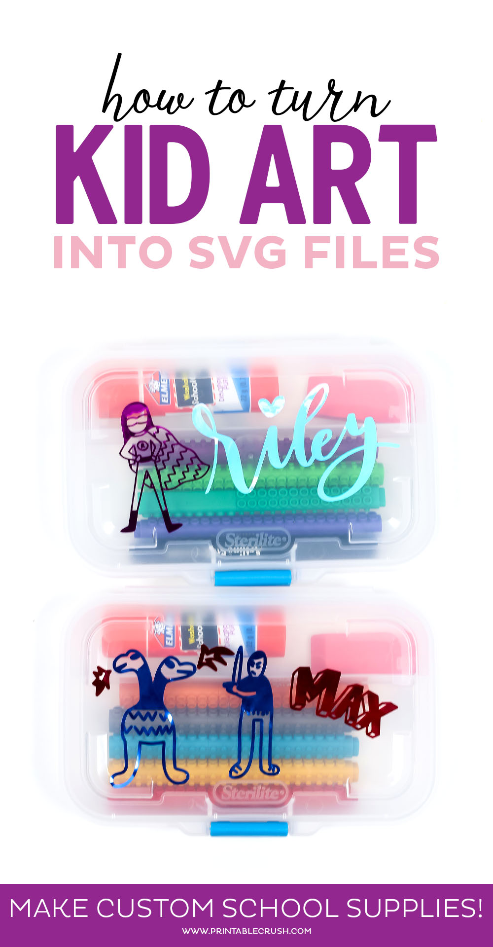 Create custom back to school supplies with vinyl by turning kid art into SVG files.