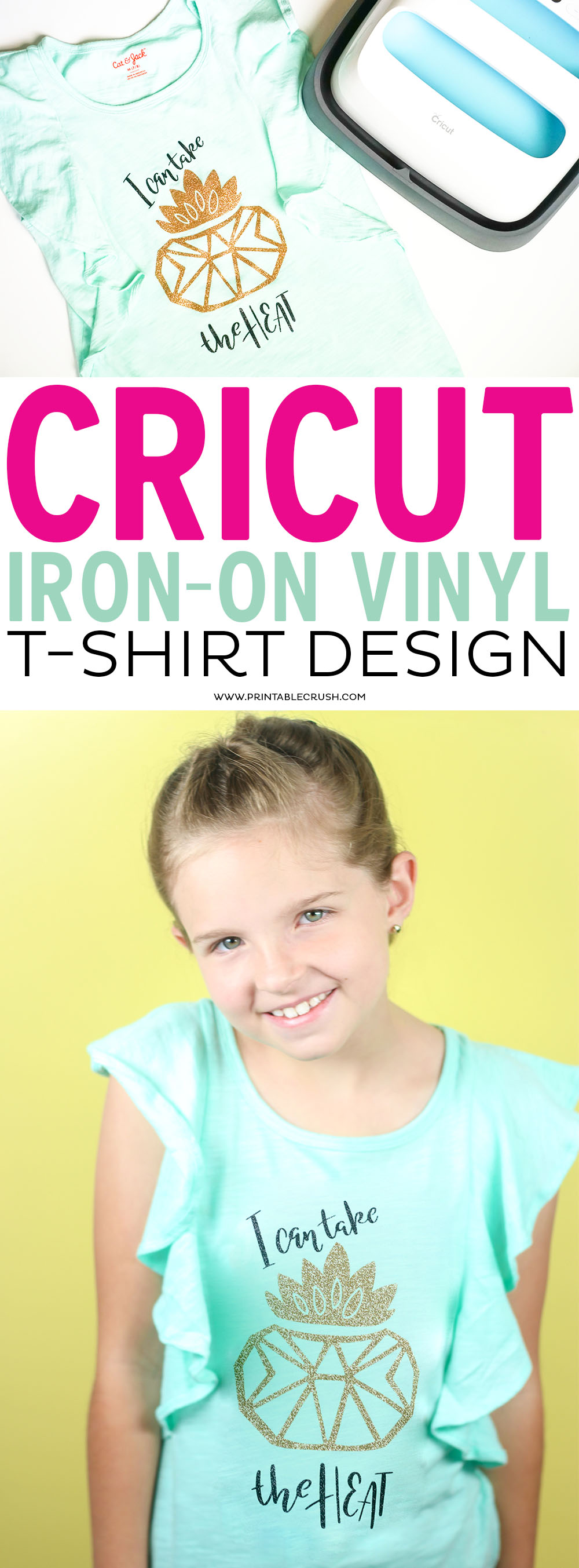 Cricut Iron-On Vinyl Succulent T-shirt Design