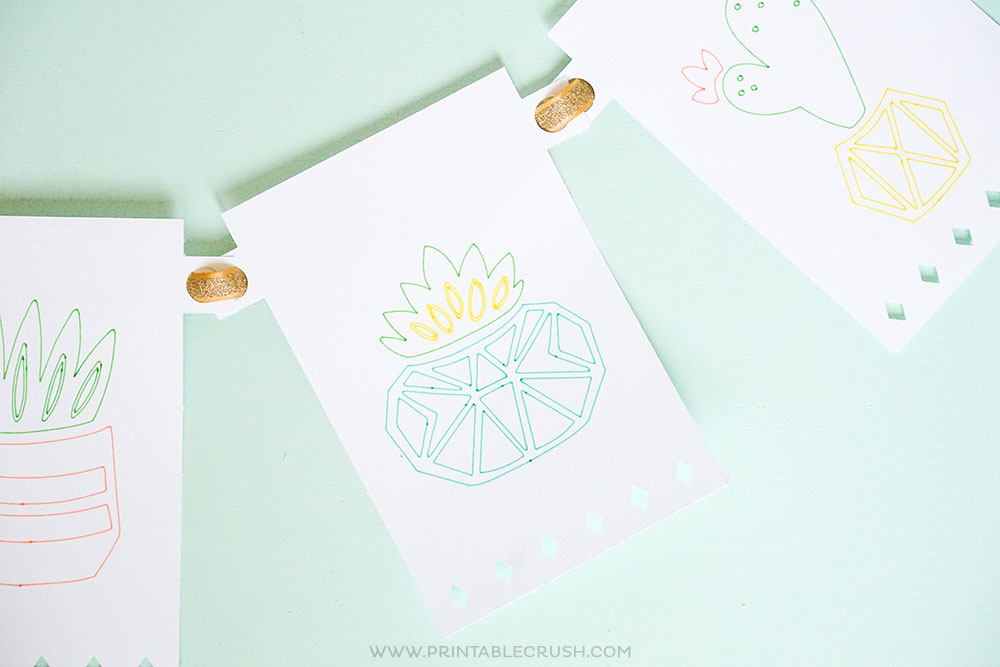 Get this FREE Cricut Party Banner Template and learn to make a succulent banner for a Palm Springs Party