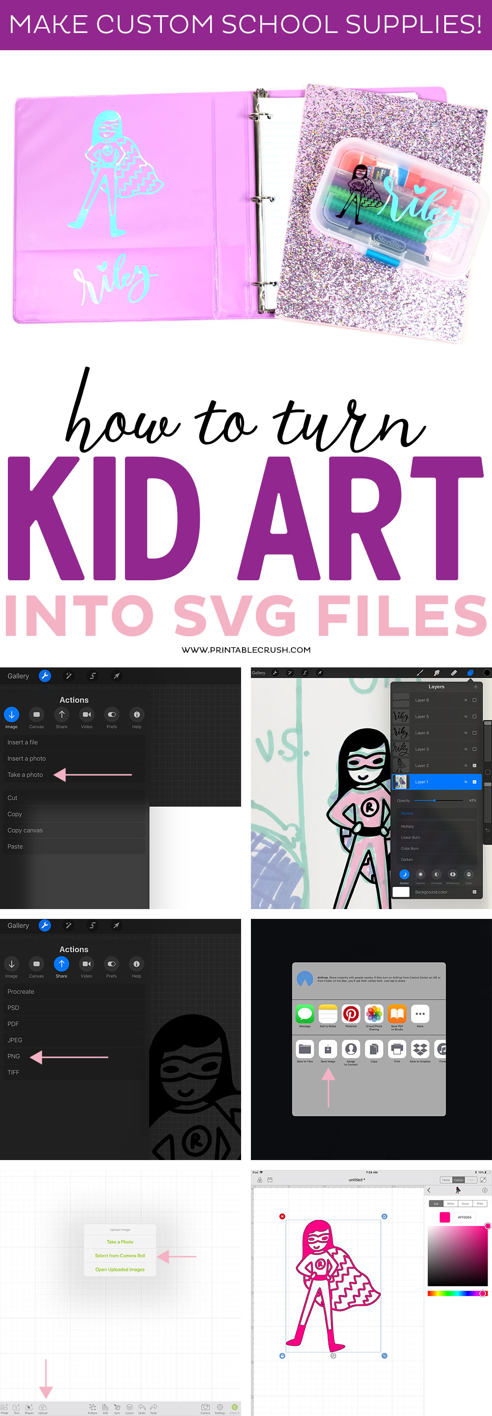 Turn kid art into SVG Files so you can create custom school supplies, kid room decor, and vinyl projects.