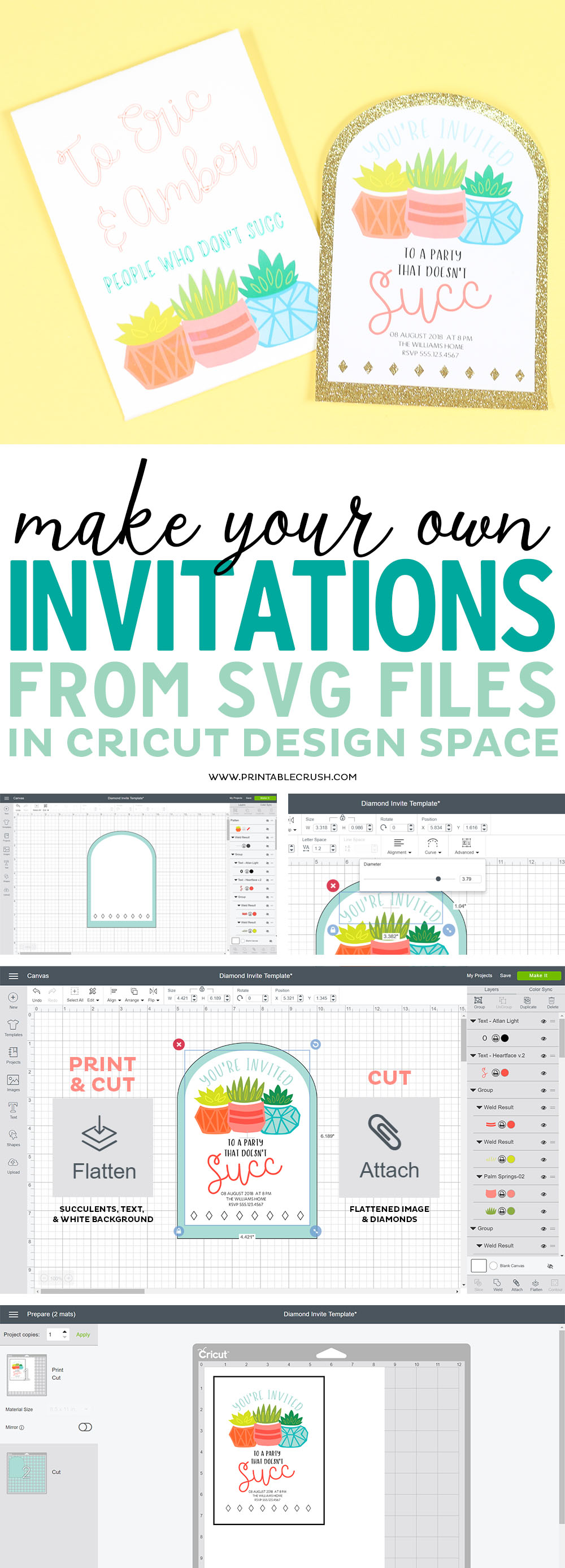 Did you know you couldMake Your Own Invitations from SVG Files? I'll teach you how to create these cute succulent invites in Cricut Design Space! #cricutmade #svgfiles #cricutdesignspace #cricutmaker via @printablecrush