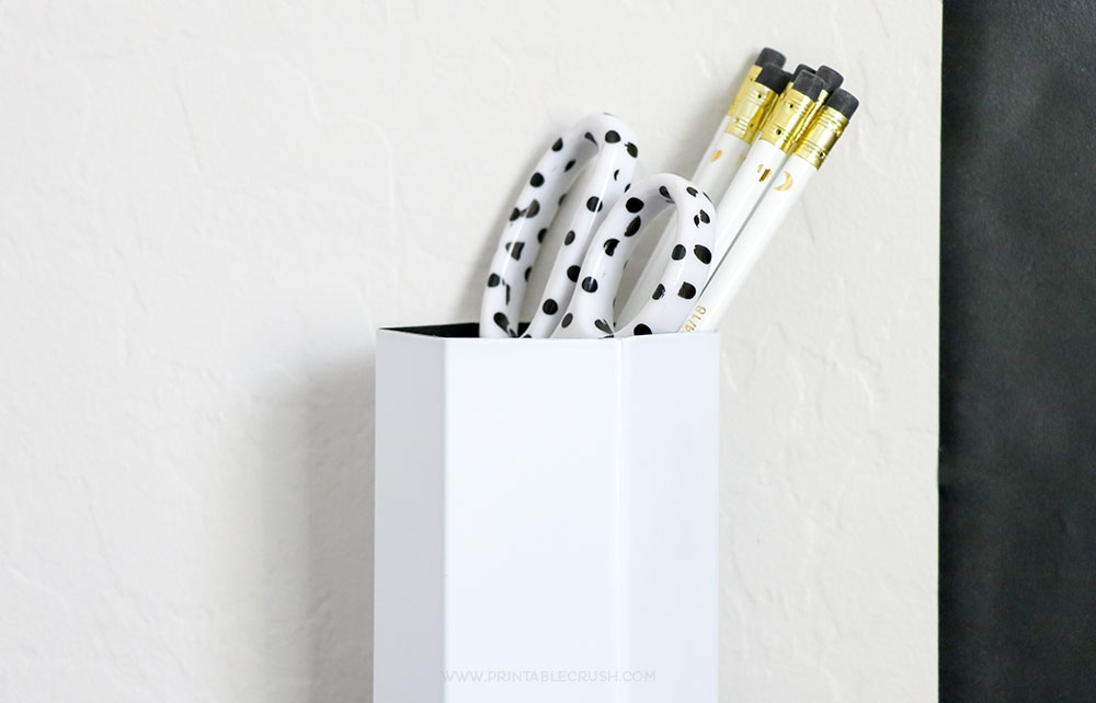 Easy DIY Wall Hanging Pencil Holder for a fun kid room decor idea