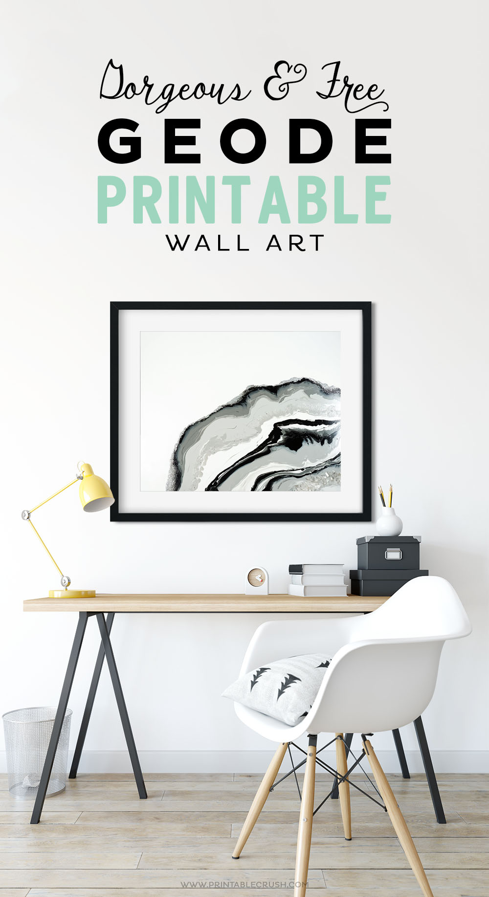 "Decorate your modern home with this beautiful FREE Geode Printable Wall Art. Comes in 5X7"" and 8X10"" with different layout options. The marble colors come from my original acrylic paint pour painting."