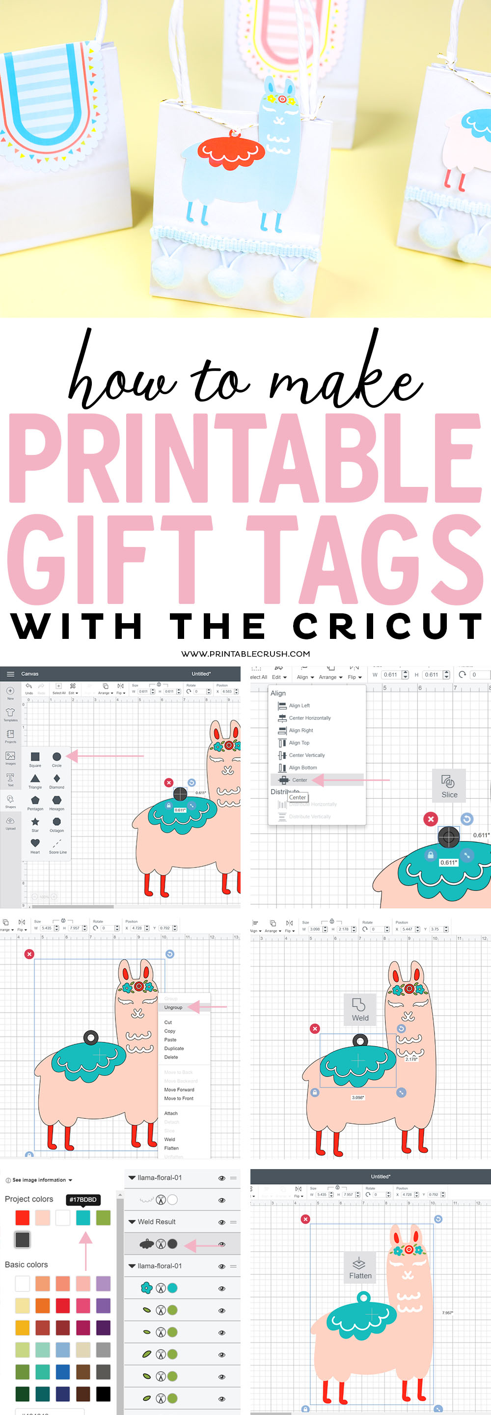 These adorable Llamagift tags were easy to create, and I'm showing you how you can make Printable Gift Tags with the Cricut using these SVG Files! #svgfiles #llama #fiesta #cricuttutorial #cricutmade #cricutdesignspace via @printablecrush