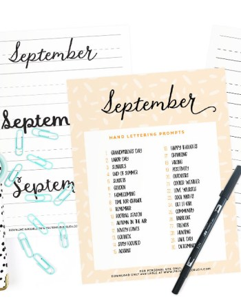 Get 30 September Lettering Prompts plus a FREE practice sheet in this blog series to improve yourhand lettering skills. Plus, you can get 30 days of AUGUST lettering worksheets from the shop!