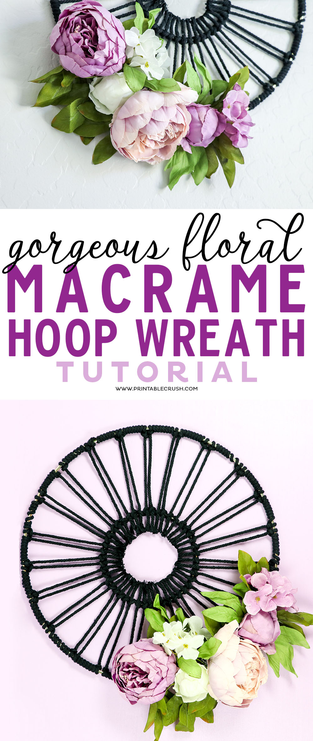 Gorgeous Floral Macrame Hoop Wreath Tutorial