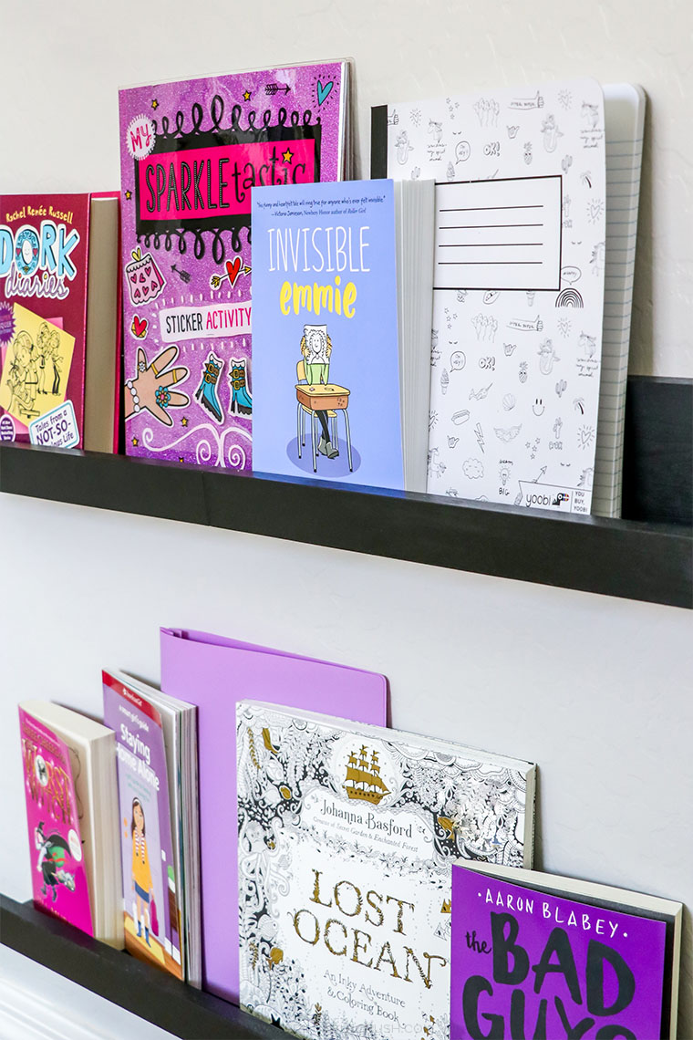 Love these bookshelves from Walnut Hollow. Pretty and functional in this tween bedroom!