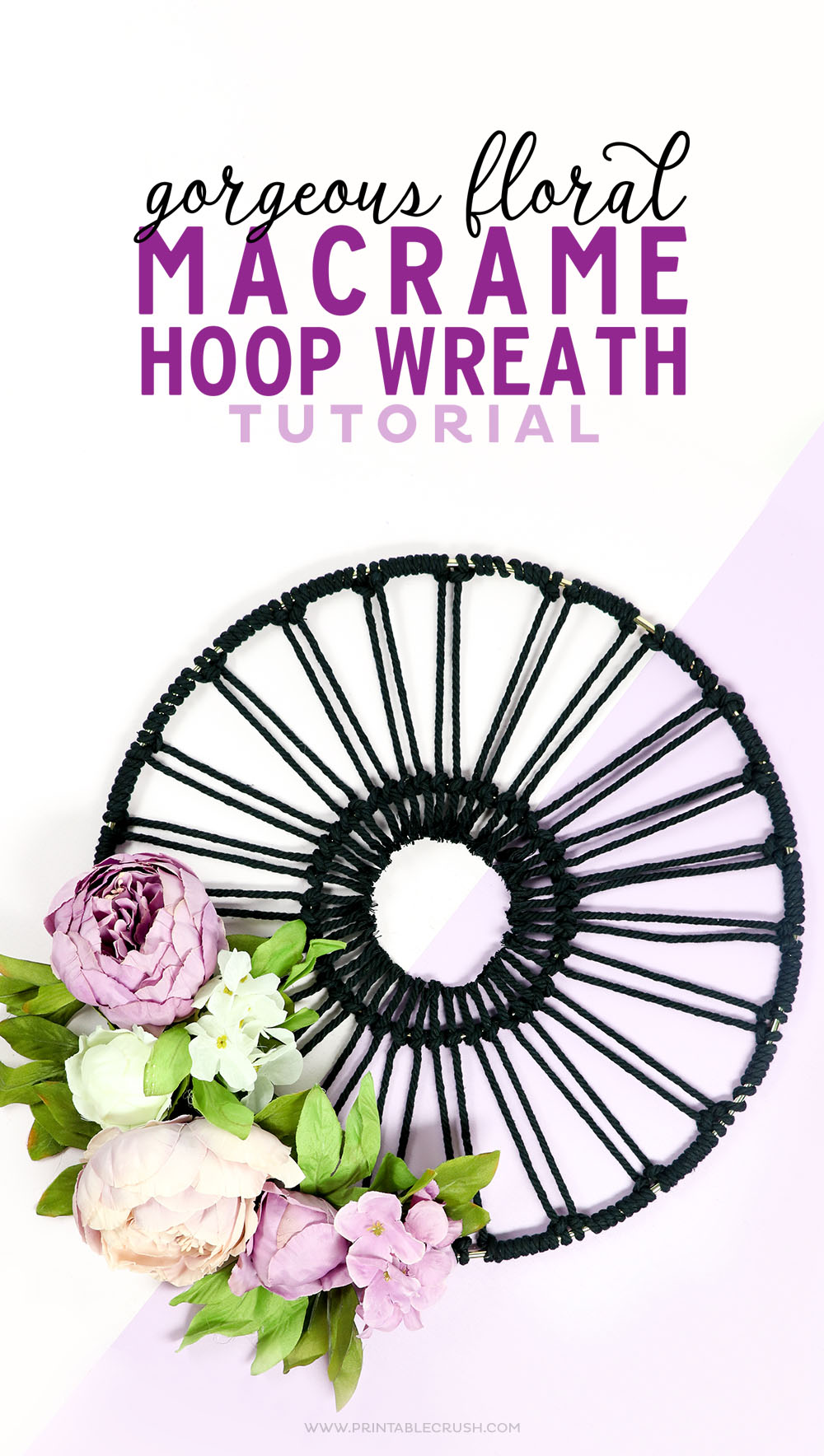 This Gorgeous Floral Macrame Hoop Wreath is easier than it looks and you can get the whole tutorial here