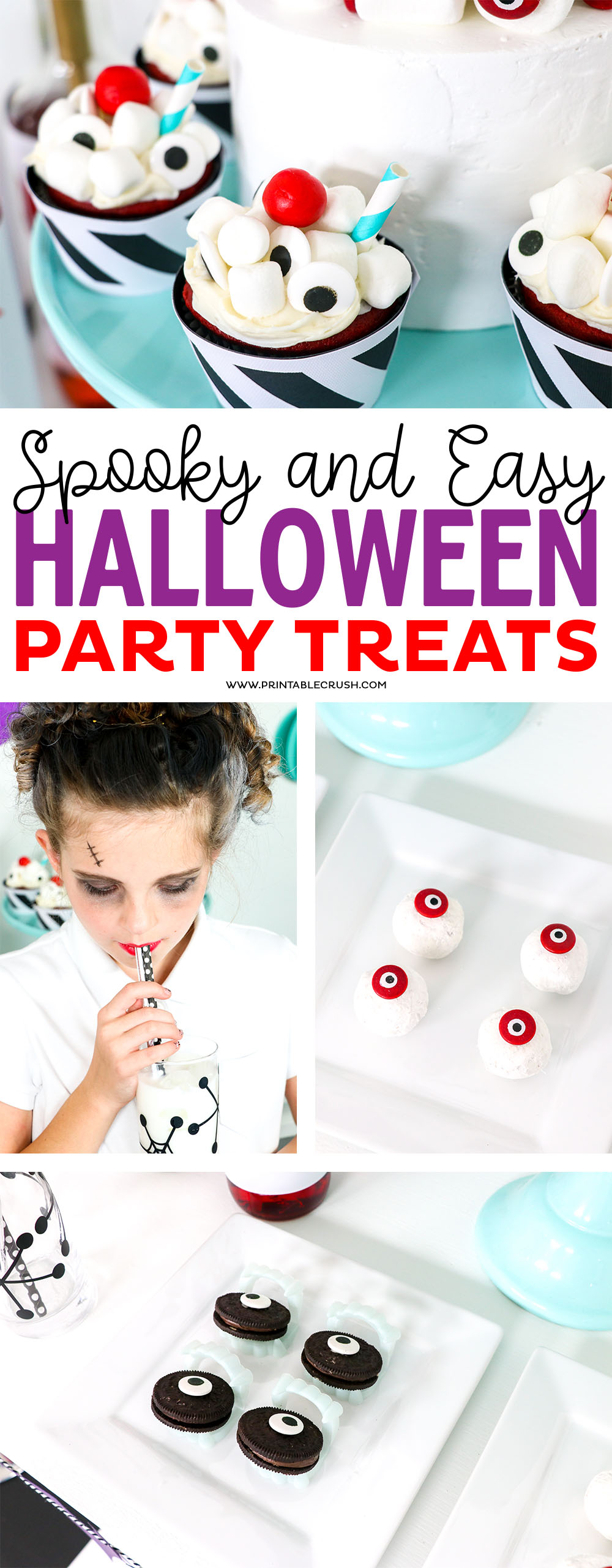 Make these Spooky and Easy Halloween Treats for your Soda Shop Halloween Party! #halloween #halloweentreats #halloweenparty via @printablecrush