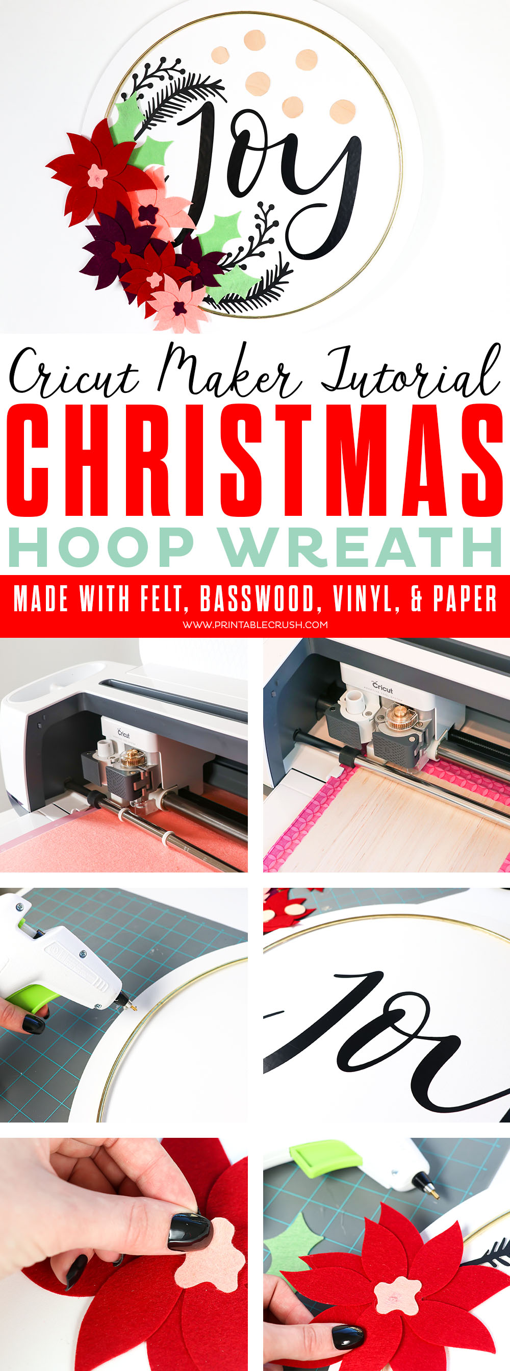 Make this gorgeous Canvas Christmas Hoop Wreath Tutorial using felt, paper, vinyl, and basswood cut outs from the Cricut Maker.