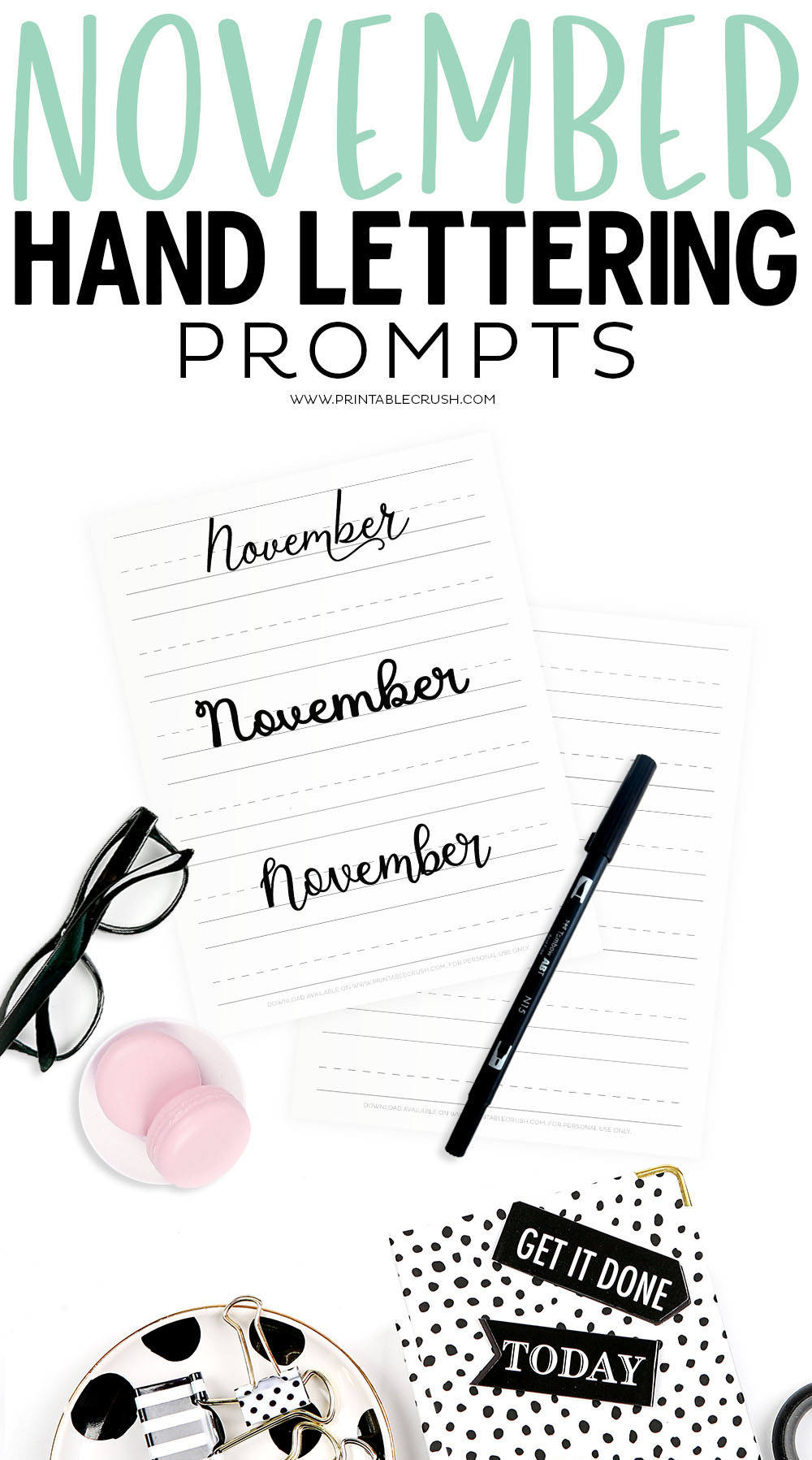 Get 30 FREE November Prompts for Hand Lettering!