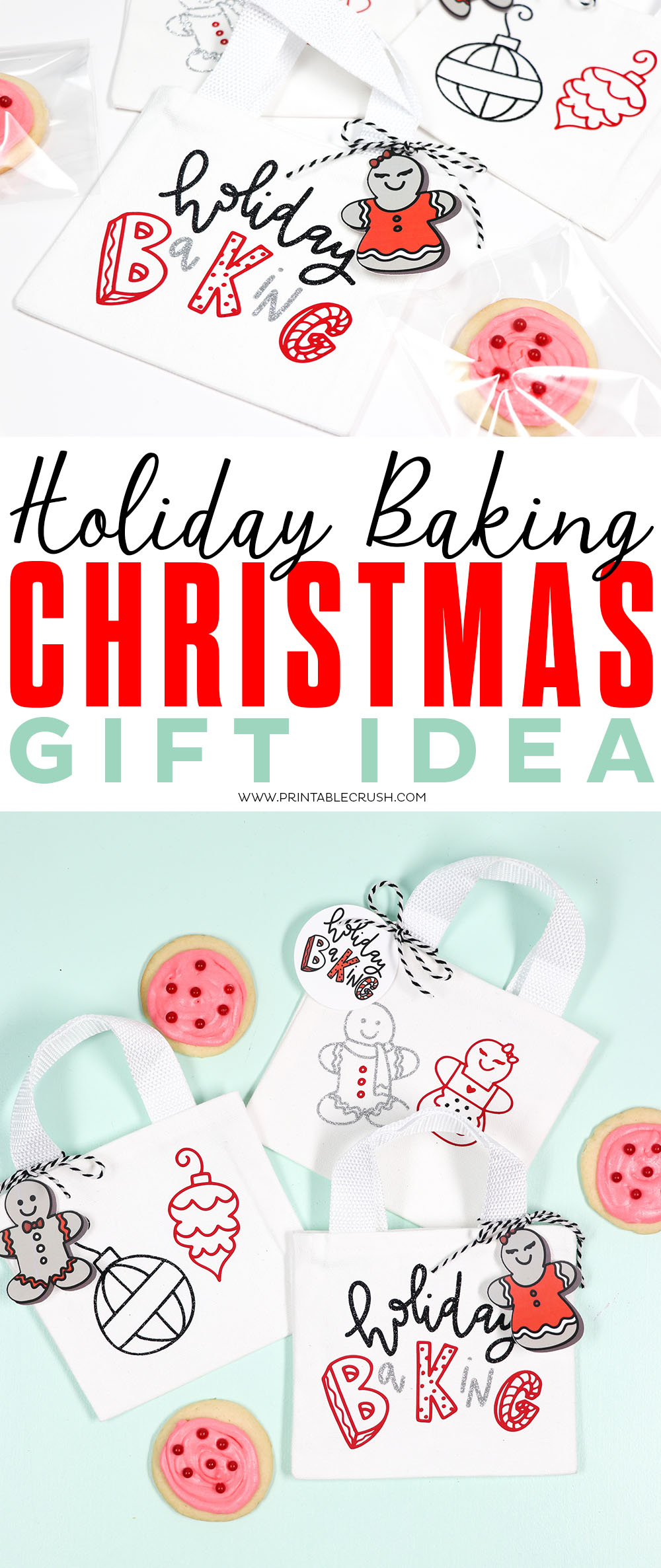 These Holiday Baking Christmas Gifts are too cute and so easy to make with the Cricut EasyPress! #diychristmasgift #christmascookieexchange #cricuteasypress #sayitwithcricut #cricutmade via @printablecrush