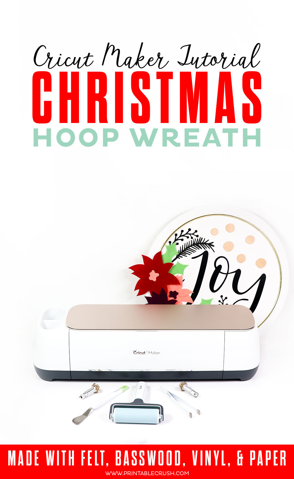 This Christmas Hoop Wreath is SO easy to make when you have a Cricut Maker! It can easily cut fabric, vinyl, paper, and even basswood for this beautiful project.