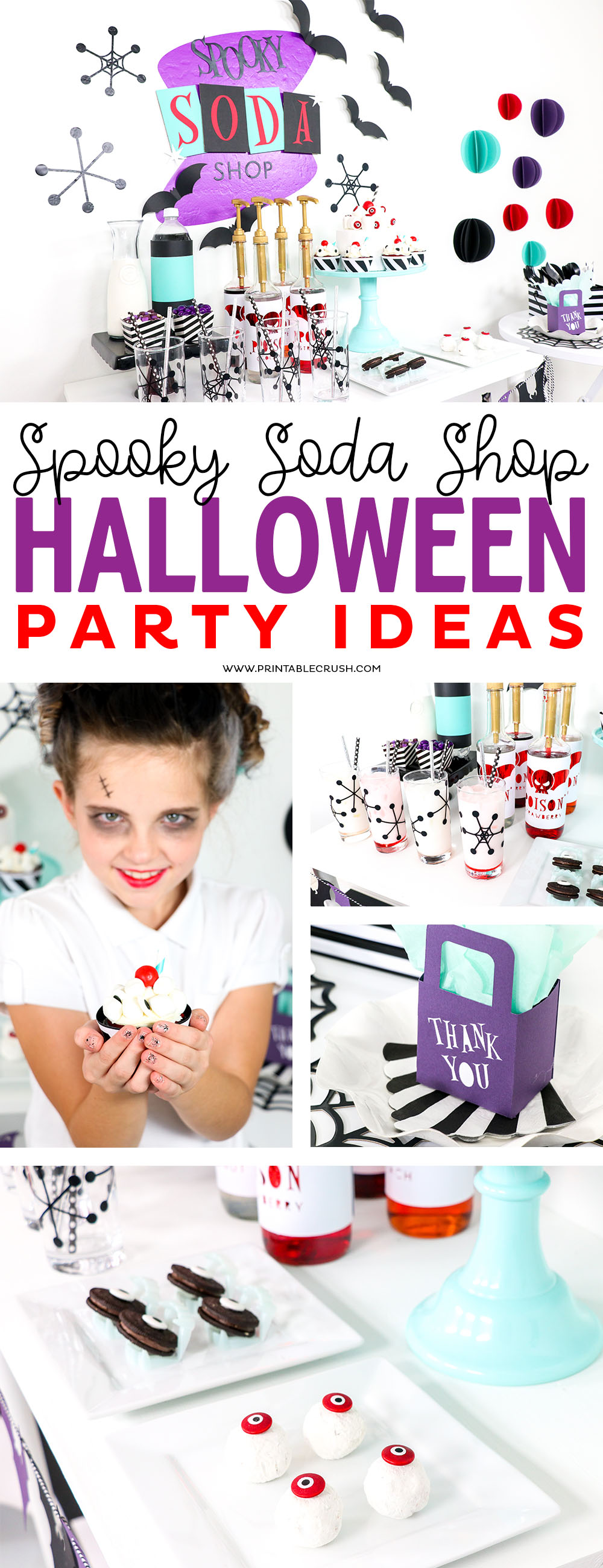 This Spooky Soda Shop Halloween Party is bright and colorful and it is made SO much easier with the Cricut Maker! #halloweenparty #sodashop #partyideas via @printablecrush