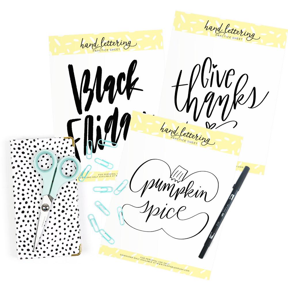 November Prompts for Hand Lettering - Printable Crush