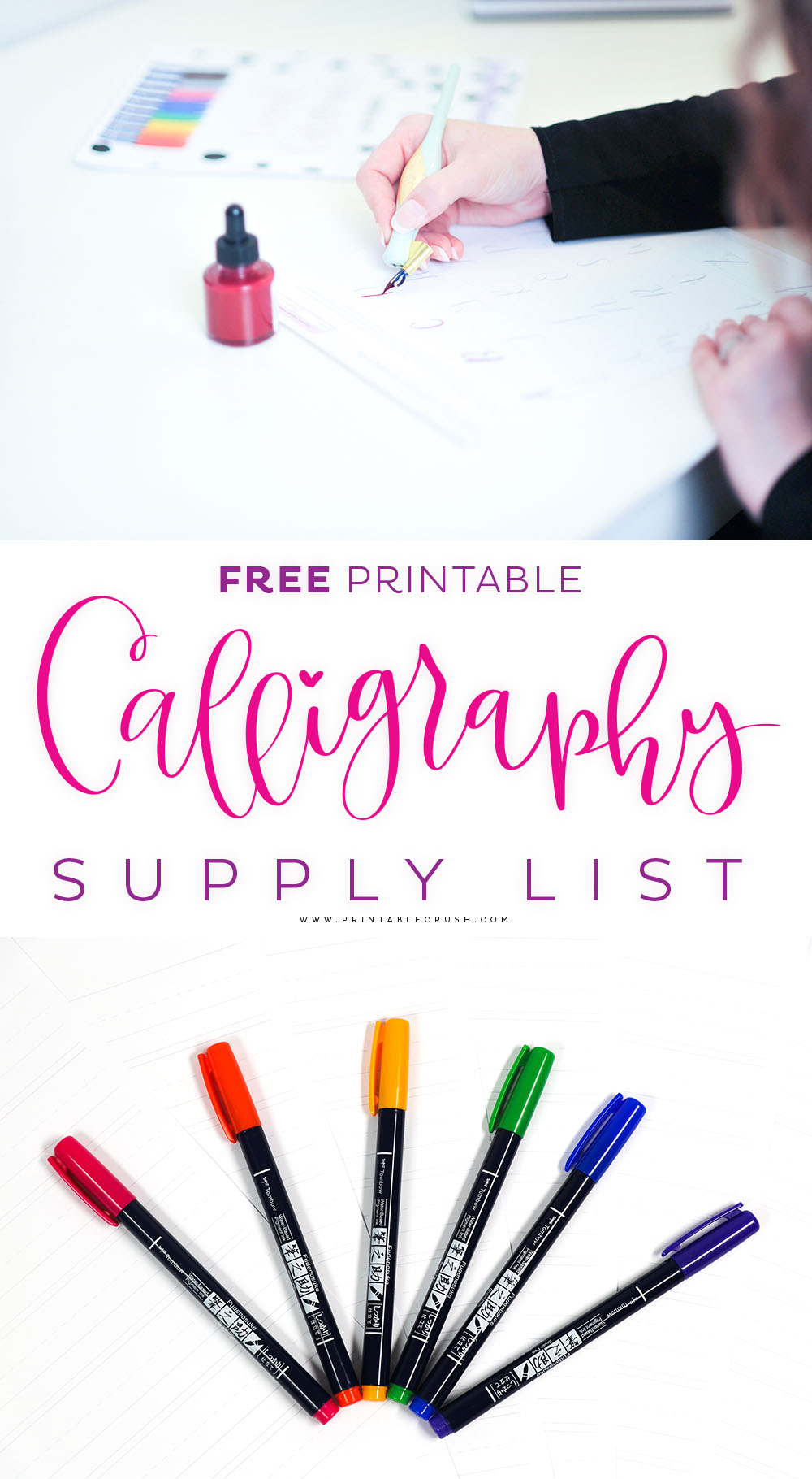 Download this FREE Casual Calligraphy Supply List to get the BEST supplies for creating calligraphy artwork!