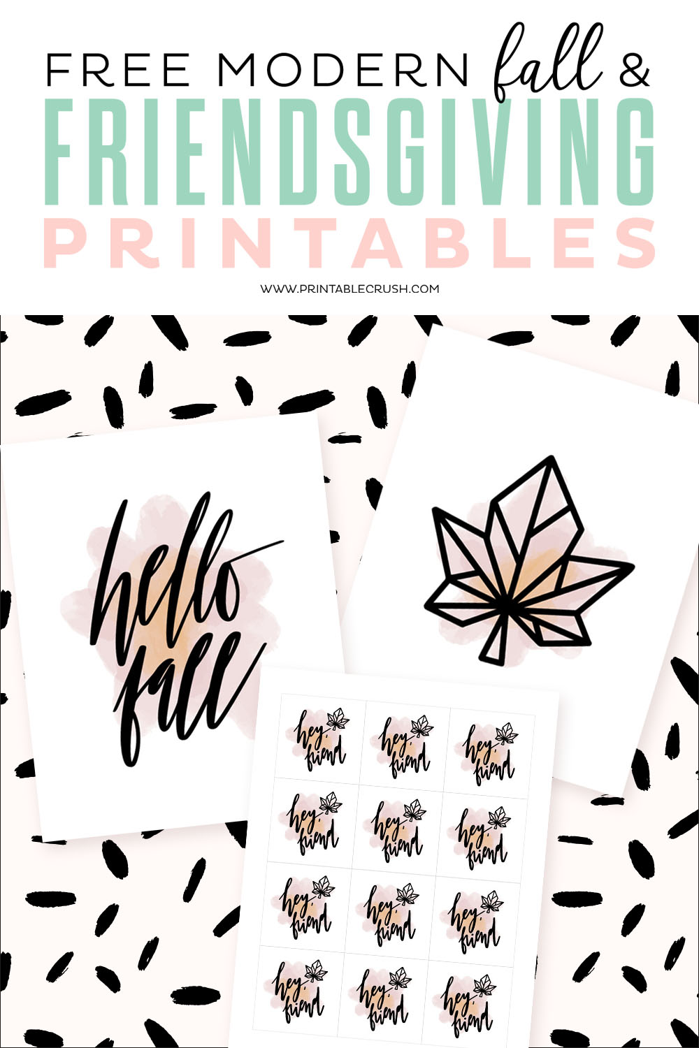 Free Modern Fall and Friendsgiving Printables - perfect for your Thanksgiving party this year! #friendsgiving #fallprintables #fallhomedecor  #freeprintables #thanksgivingprintable #modernfalldecor via @printablecrush